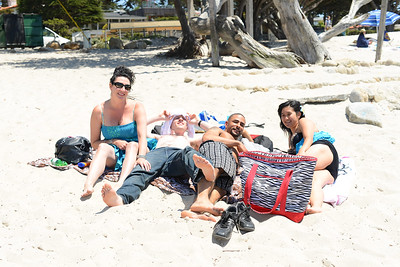 Group laying on beach
