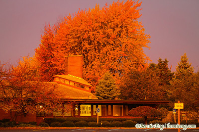 This morning's sunrise cast an awesome glow on St. Matthew's and the colorful trees behind it this morning.