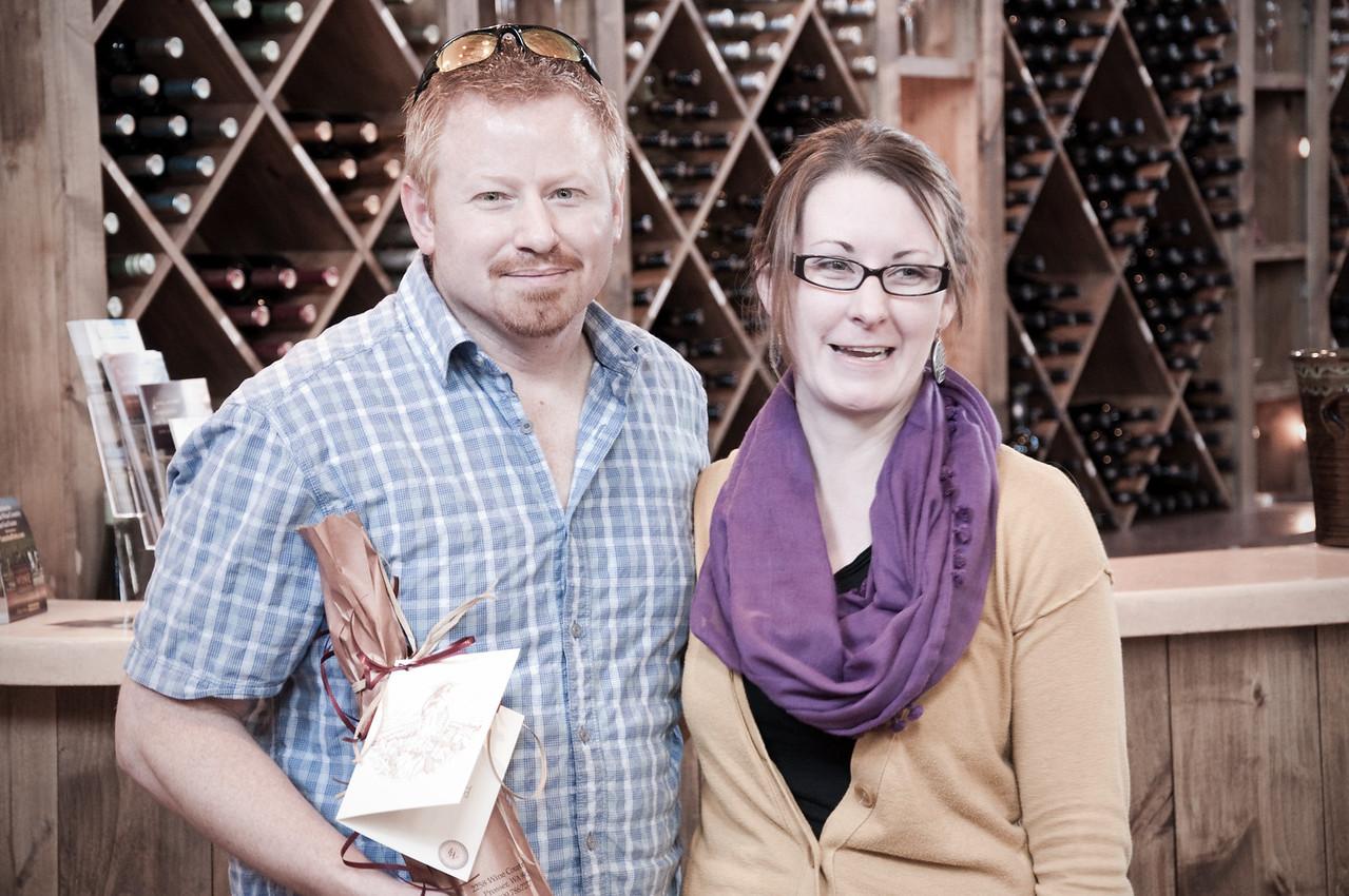 2012.10 - Chad's birthday: wine tasting in Prosser, WA. Chad receiving his birthday wine at Desert Wind Winery.