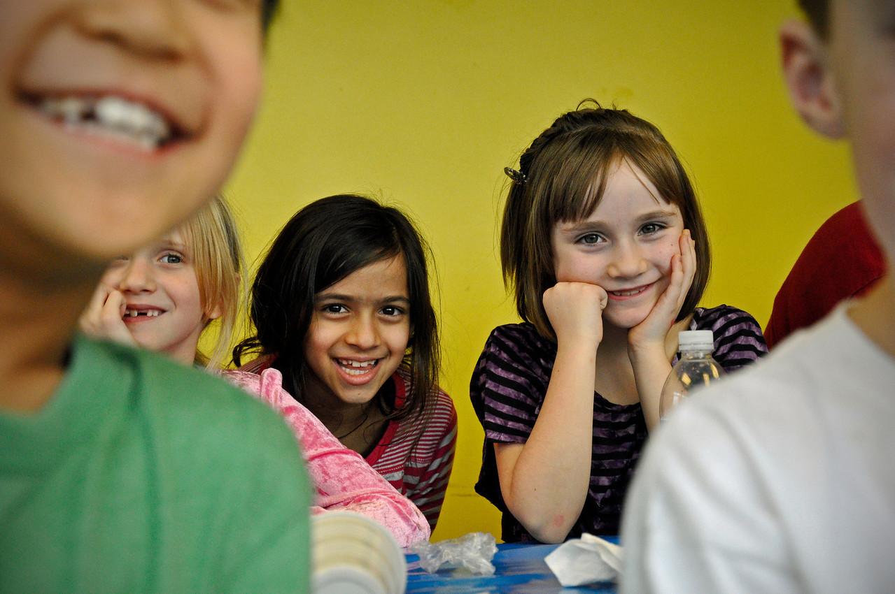 2012.01 - Kimber's 8th Birthday - Jump Planet. Taylor, Satya and Ainsley...sweethearts.