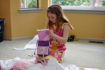 2012.01 - Kimber's 8th Birthday. Matching purse (to skirt) made by Grandma Carol.