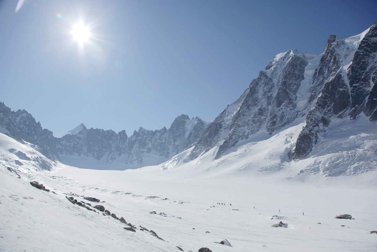 Looking up the Argentiere glacier, you can see a group on the lower right who we saw later.