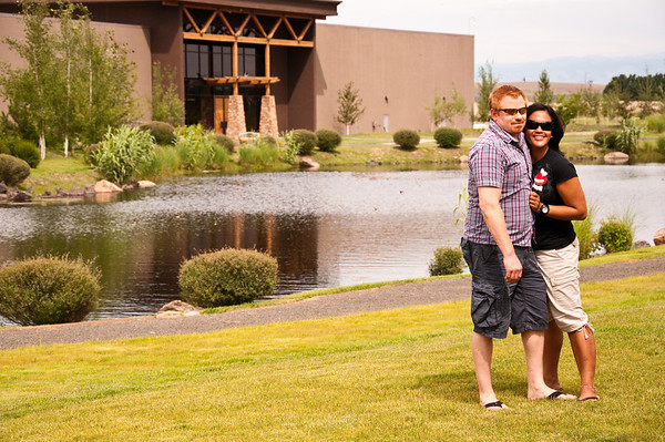 2012.06 - Ivory's birthday: wine tasting in Walla Walla. Posing in front of the pond at Waterbrook Winery.