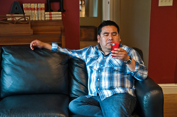 2012.06 - Ivory's birthday: wine tasting in Walla Walla. Jorge string the pose he had most of the weekend...on Facebook via his phone. :)