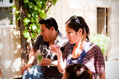 2012.06 - Ivory's birthday: wine tasting in Walla Walla. Jorge and Riki enjoying a taste at Dunham Winery.