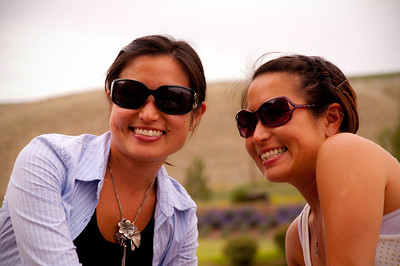 2012.06 - Ivory's birthday: wine tasting in Walla Walla. The twins, Riki and Kari, at Waterbrook Winery.