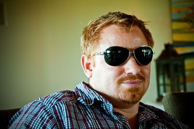 2012.06 - Ivory's birthday: wine tasting in Walla Walla. Chad sporting my aviators during lunch at Woodward Canyon winery.