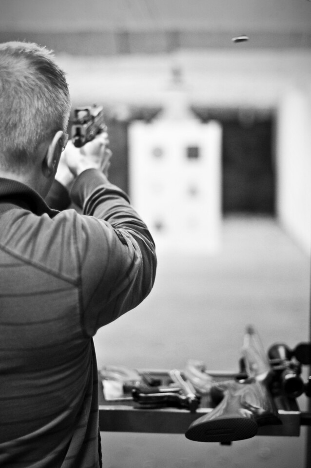 2013.01.03 - Shooting range with Mike Anderson. Flying casing from .45 pistol.