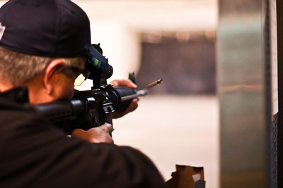 2013.01.03 - Shooting range with Mike Anderson. Flying casing from .22 AR.
