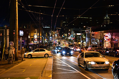 Busy downtown on Saturday night