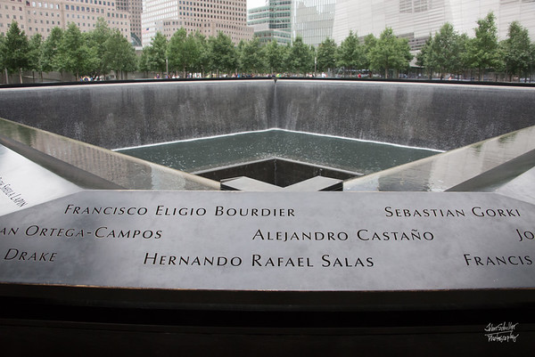 South Tower pool with names of those who perished, etched in stone surrounding the pool.