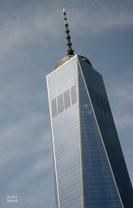 Closer view of the top of One World Trade Center