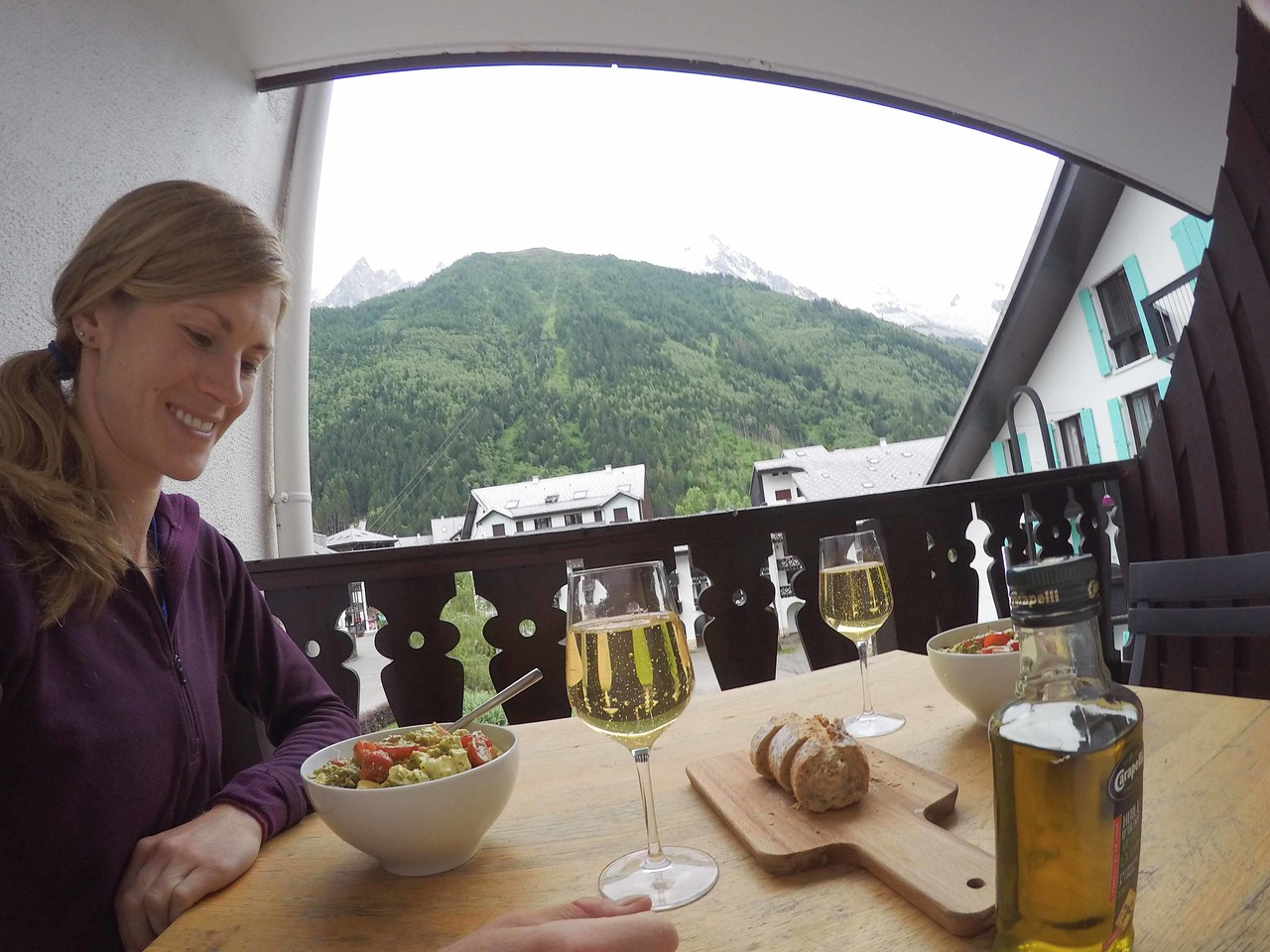 The apartment we got on Air BnB was amazing- a great view of the Aguille de Midi. That and cooking for ourselves was wonderful as well. <br /> <br /> DCIM\100GOPRO\GOPR6052., hlbD_abc72578.jpg