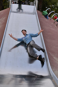 Special kid on the slide