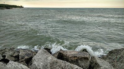 Water and rocks by Michigan Lake