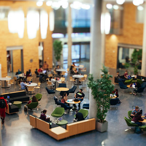 March 7  Chris brought his tilt-shift lens to work today so we could run some tests and see if our video idea could work. I think we have pretty decent odds. We were at least able to miniaturize the BLB lobby, so there's that. We had our pitch meeting this afternoon for the fall ad and holiday videos. The meeting ended on a positive note, looking like we were in pretty good shape. Then, two hours later, Ernestine sent out an email that there were suddenly concerns about the concept. UGH! Now we're all steaming.