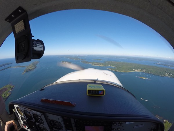 Casco bay is a magical place to fly; we went up to whaleboat island and turned around. Here we are looking at Chebeague.