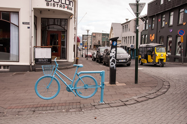 2016.05.19 - Reykjavik, Iceland. Iron bicycle to block street for pedestrian traffic.
