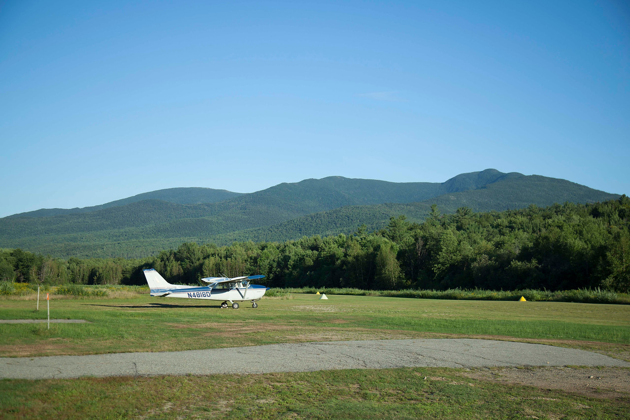 And then the adventurous part! Gorham, NH has a little (very bumpy) grass strip. Moreover, it has Mr. Pizza, a joint which Nathanial and Ben have long known well. Getting in was the most exciting landing I've ever done. Mountains are on all quarters along with terrain that rises on all sides. Did a high pass, a low pass, and then a final approach over the town of Gorham. At long last we came down. Wasn't as good as the first landing but it wasn't bad either!