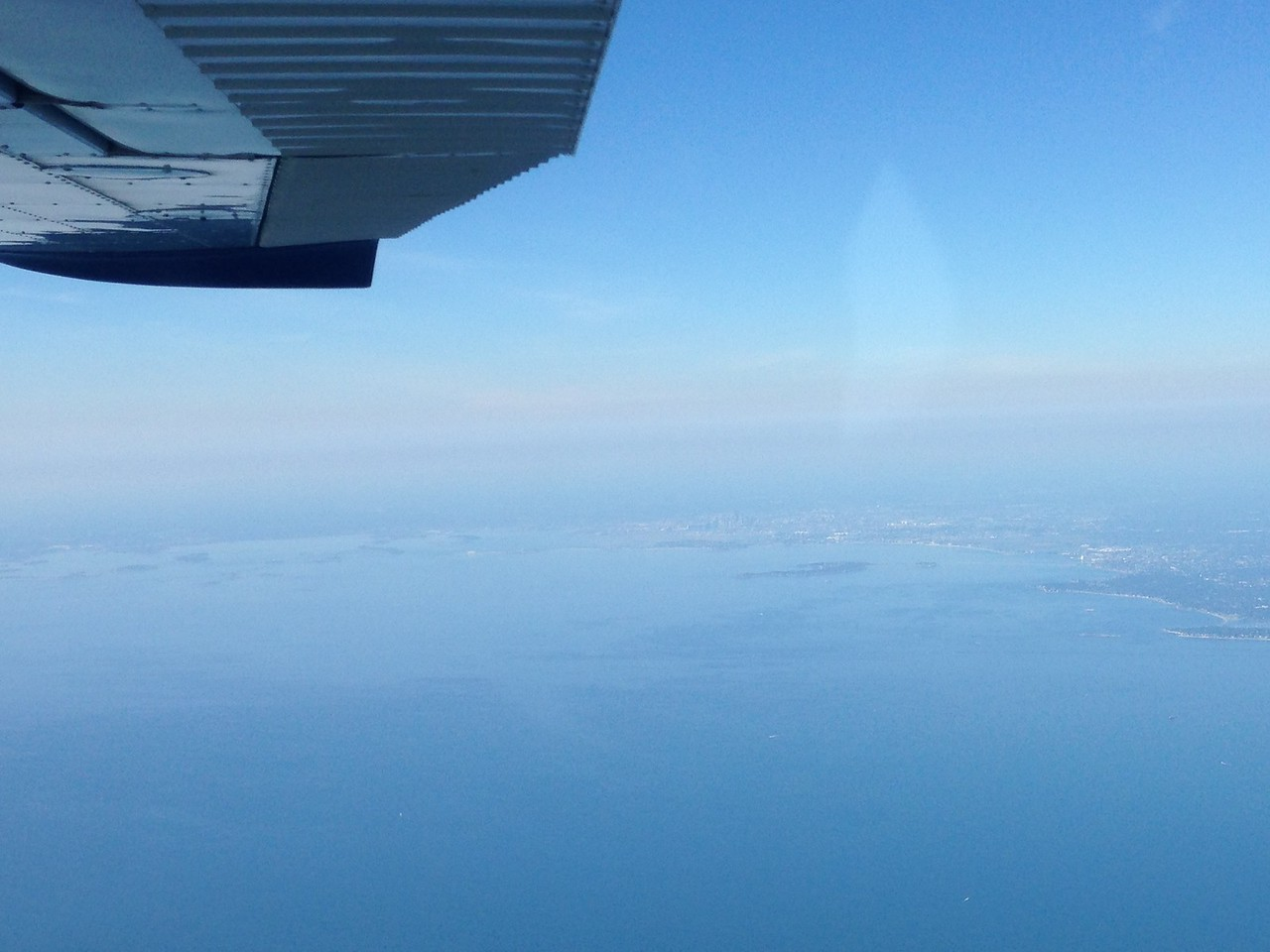 Starting our more over water leg after passing over Gloucester.