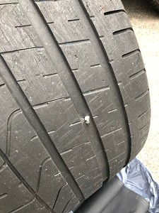 This would be why the tire showed low pressure during the test drive.   Thankfully the dealer made it right,