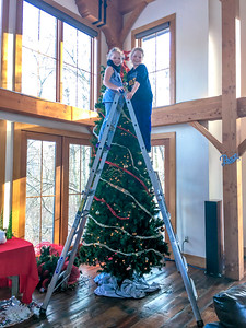 Decorating One of Many Trees in the Lodge