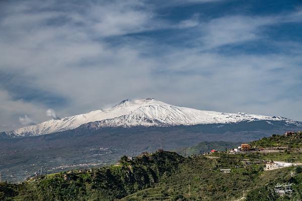 Snow capped Mt. Etna