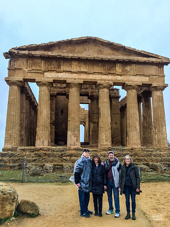 Our guide captures us and the Temple of Concordia.