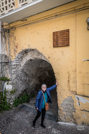 "Entrance to the old Jewish Quarter of Nicastro. ""The Helm gia Judeca.  An industrious Jewish community operated in this neighborhood"""