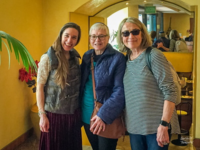 Anna, Rabbi Barbara Aiello and Denise meet at Hotel Savant