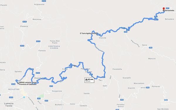Map 16 - Nicastro to Serrastretta - correct