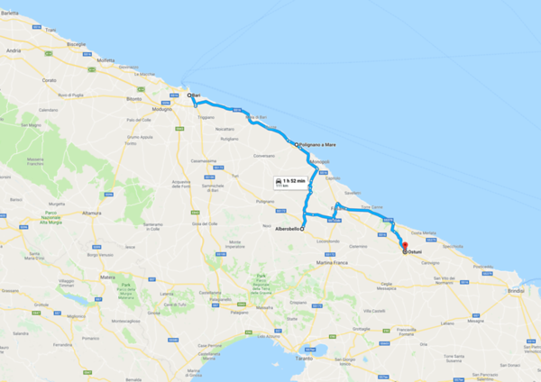 Map - 6 Bari to Ostuni
