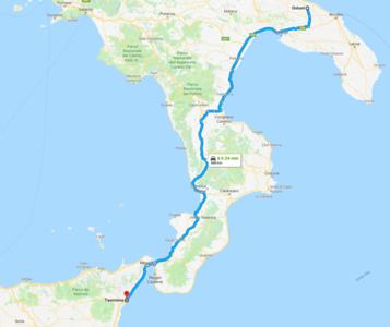 Map - 7 Ostuni to Taormina