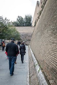 Ron and Nancy walking along the wall of Vatican City