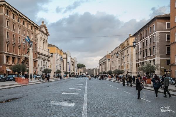 Walking from the Vatican down Via della Conciliazione towards Castel Sant'Angelo