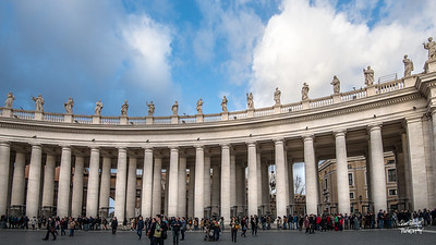 Columns surround St. Petere's Plaza