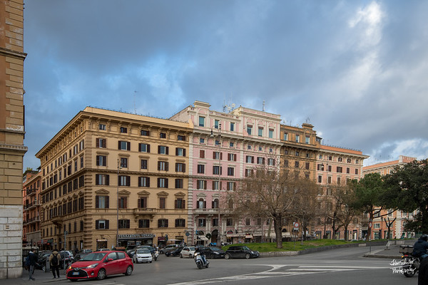 Apartment buildings overlooking Piazza del Risorgimento.