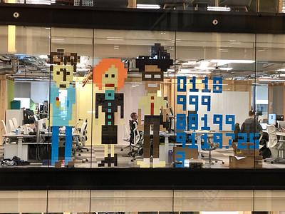 2018.12.03 - London. Pixel art with post-it notes in Kings Cross Google office.