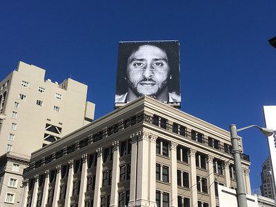 2018.10.13 - San Francisco. Huge Nike sign supporting Colin Kaepernick.
