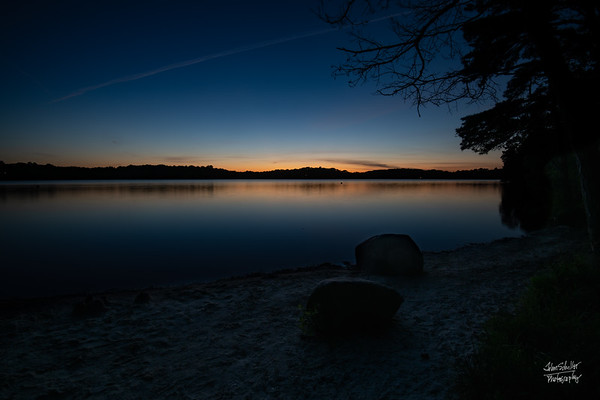 30 minutes before sunset - awaiting Comet NEOWISE over Hamblin Pond, Marstons Mills, Cape Cod.  ©John Schiller Photography