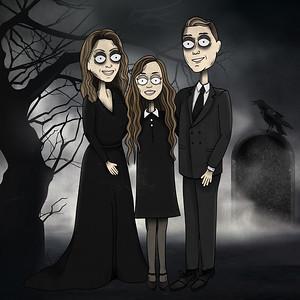 Spooky family portrait by Carla of Grove Street Art