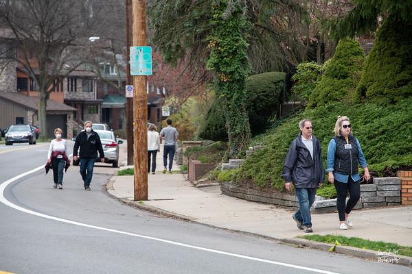 Social distancing walking along Beechwood Boulevard