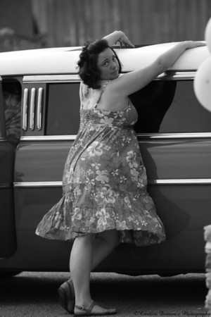 """June 20th, 2009  This is my friend Jennifer. She is one super fun person. Saturday was her Bridal Shower. Her fiance surprised her and had her picked up in a beautiful 57 Chevy limo. This is her doing her """"pin-up pose"""" with the car. This amazing woman is marrying an amazing man this Halloween. I can't wait for this for this wonderful event."""