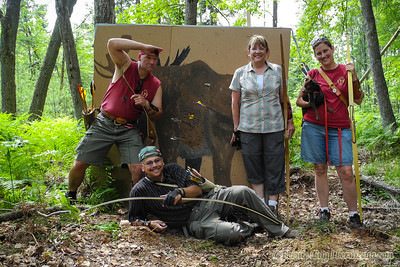 Moose and Squirrel: Our partners of the bow pause at a hand-painted moose target during the Michigan Traditional Bowhunters event at Hanson Hills in Grayling. 6-23, 12:04 p.m.