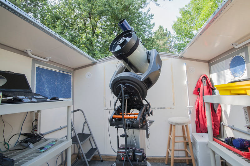 My old observatory!<br /> -11 inch Celestron CPC DeluxeHD Schmidt-Cassegrain Telescope, f/10, 2800mm<br /> -3.6 inch Williams Optics APO refactor telescope, f/7.1, 550mm (for viewing the sun, moon planets and autoguiding)<br /> -Celestron Pro Wedge (to track the rotation of the earth)<br /> -Celestron Autoguider (to keep the telescope lined up on an individual star)<br /> -ADM rail and counter-weight.<br /> -JMI focuser<br /> -Teleview Everbrite diagonal
