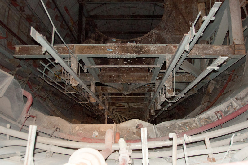 Silo with gantry intact.  100 feet to bottom