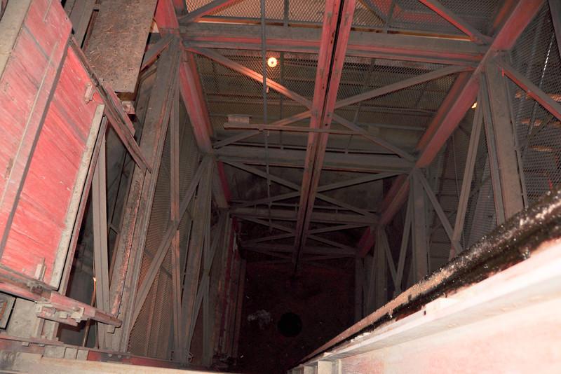 Elevator shaft at entrance
