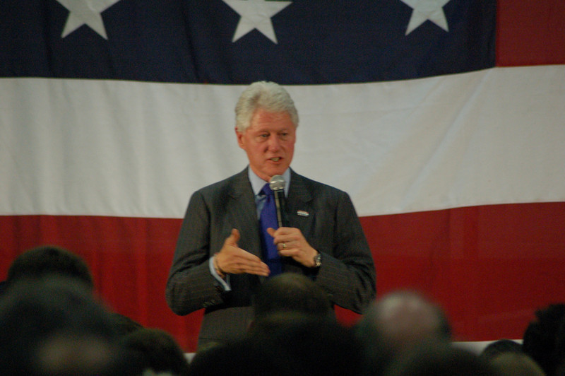 Former US president Bill Clinton spoke Monday, March 24, 2008 at West Lafayette Junior Senior High School in West Lafayette IN in support of his wife, Hillary Clinton (D-NY), candidate for the presidency.  Both Clintons are touring the state in the weeks leading up to Indiana's May 6 primary.  THE SCARLETTE / SAM OWENS