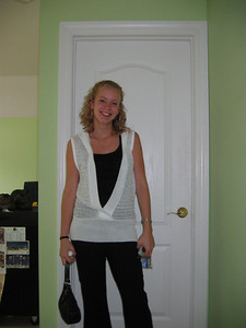 Brittany getting ready to go to her interview for her current job now!