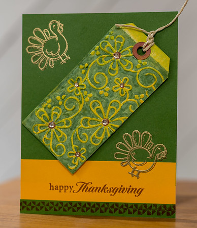 Happy Thanksgiving card handmade by CJ Crafty Designs using Double Embossing with Folder and Inks, Heat Embossing, Stamping, Bling